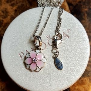 Authentic pandora blossom necklace  925 sterling